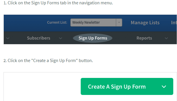 Aweber create signup form