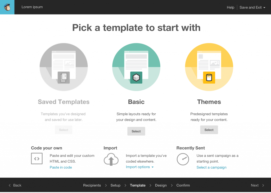 Mailchimp template selection