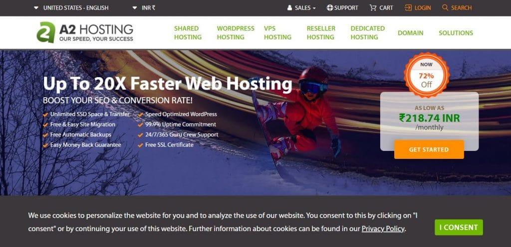 A2 hosting: One of the best Web Hosting for e-commerce